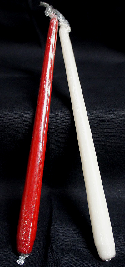 2 Pack-12 Inch Red/Ivory Taper Candles